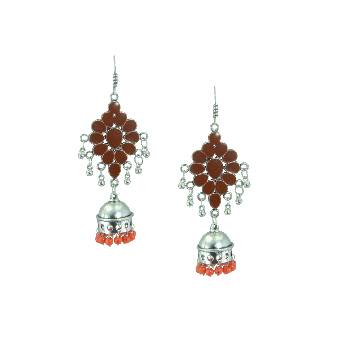 Oxidized Silver Plated Earring With Orange Multipe Pearls